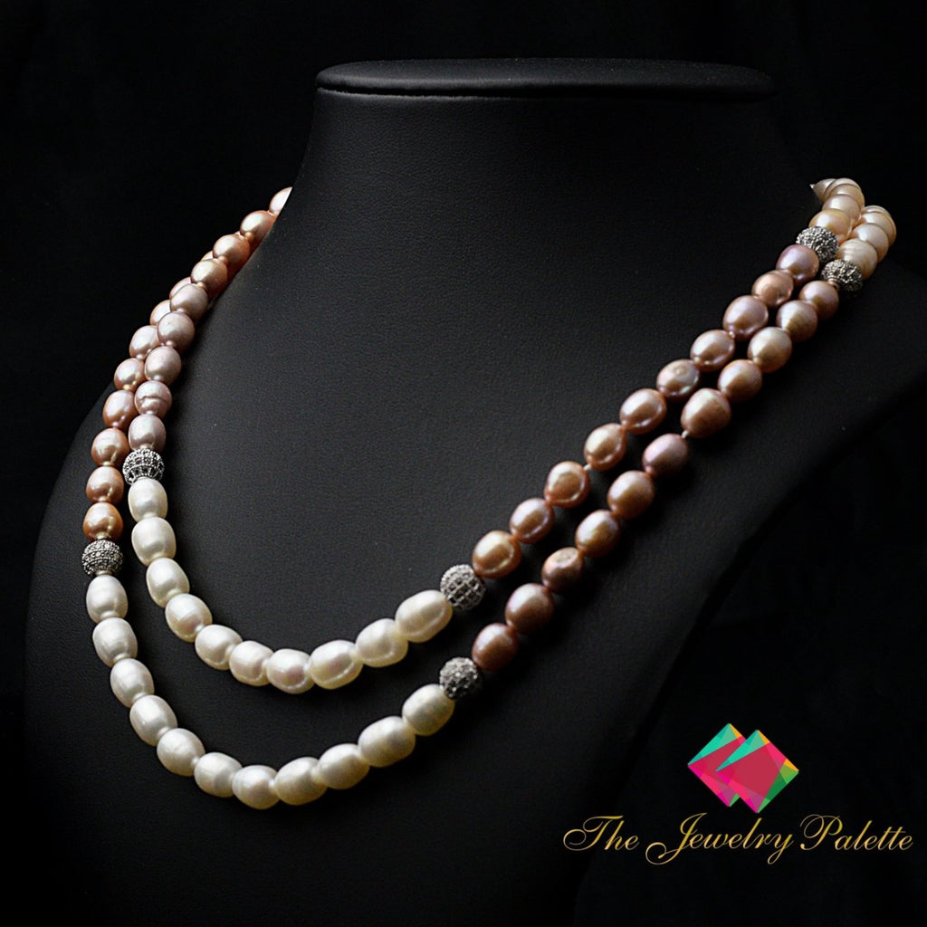 Belle lustrous multicolor freshwater pearl two tier necklace - The Jewelry Palette