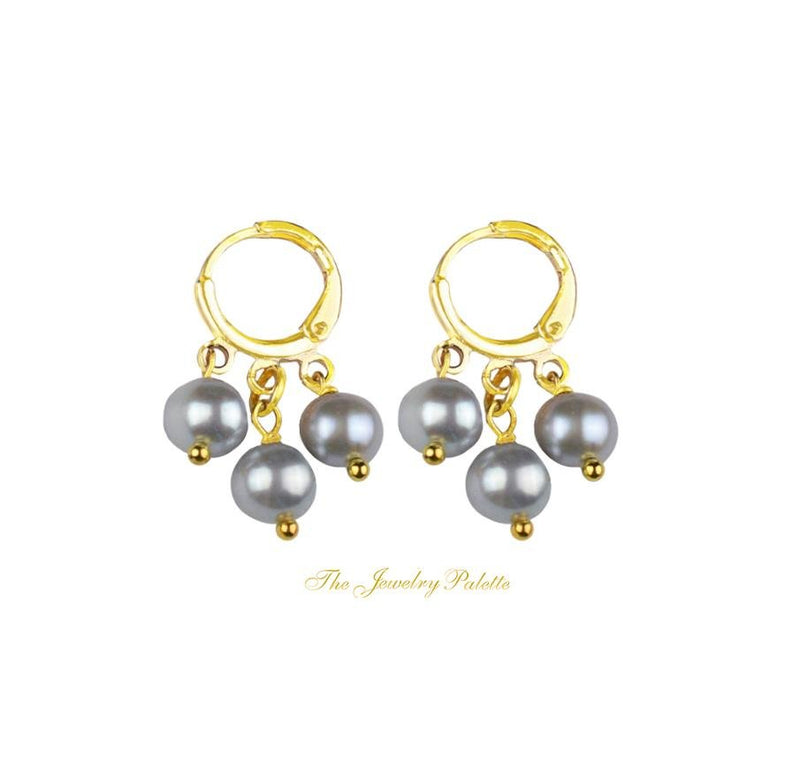 Celine grey freshwater pearl gold hoop earrings - The Jewelry Palette