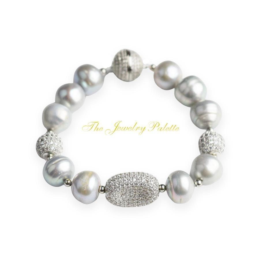 Celine lustrous grey freshwater pearl and silver bracelet - The Jewelry Palette