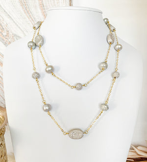Celine lustrous grey pearl and gold chain necklace - The Jewelry Palette