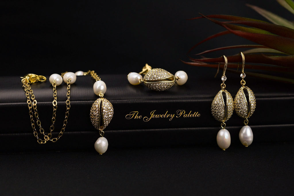 Chloe zircon studded cowrie and pearl bracelet - The Jewelry Palette