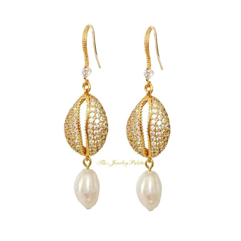 Chloe zircon studded cowrie and pearl earrings - The Jewelry Palette