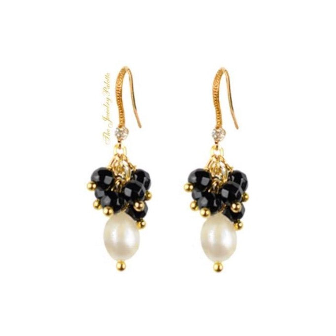 Deena black onyx cluster and white freshwater pearl earrings - The Jewelry Palette