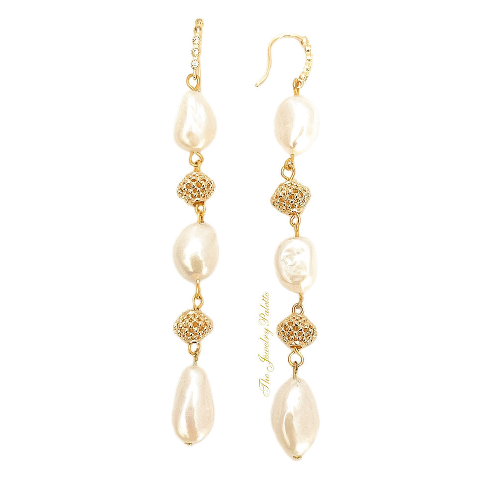 Defne intricate gold and white freshwater pearl long earrings - The Jewelry Palette
