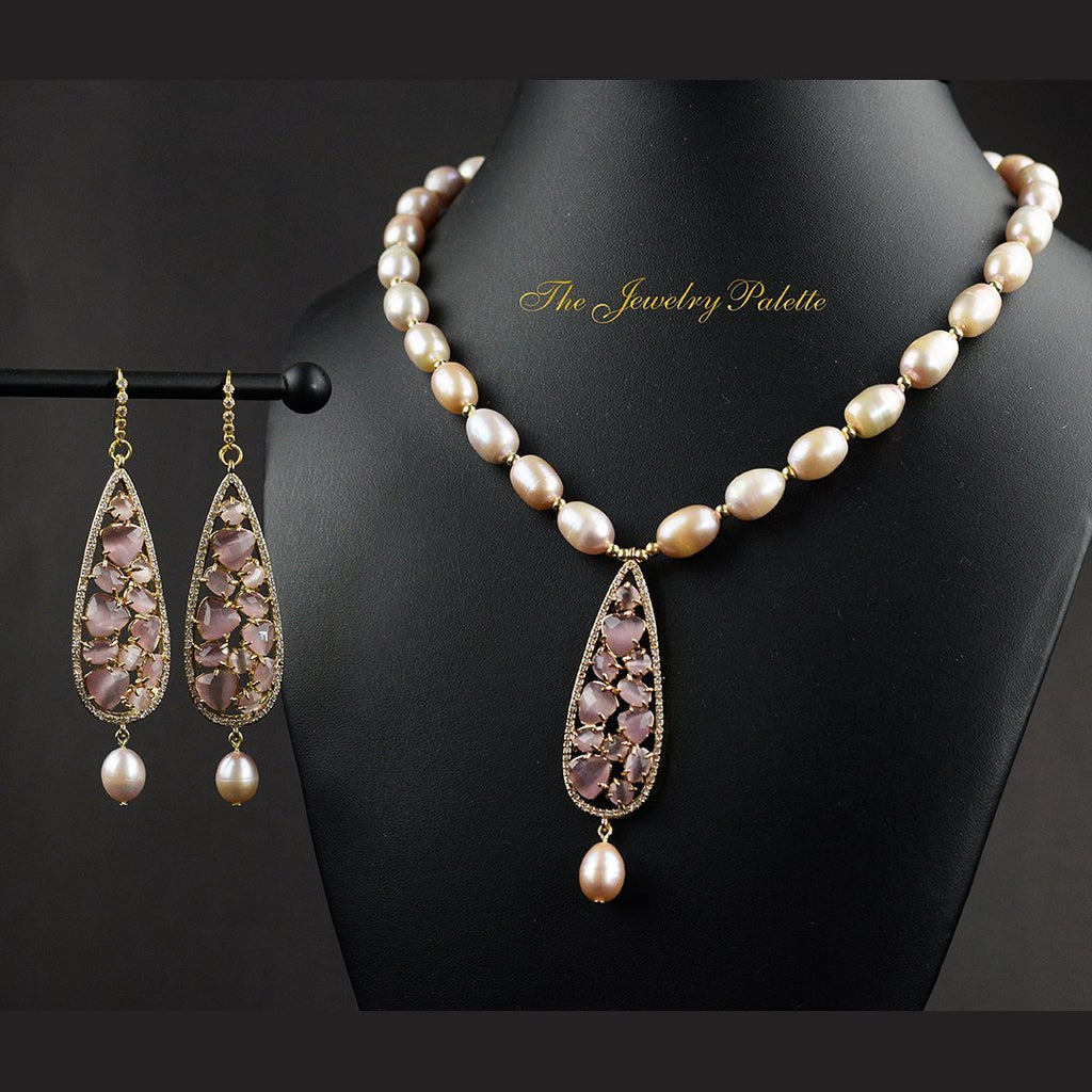 Elif lavender pearl set with zircon pendant - The Jewelry Palette