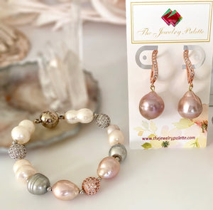 Eloise lavender Edison pearl and rose gold drop earrings - The Jewelry Palette