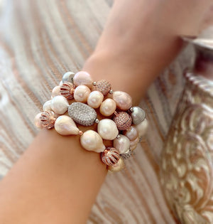 Eloise lavender, grey and white lustrous pearl bracelet - The Jewelry Palette