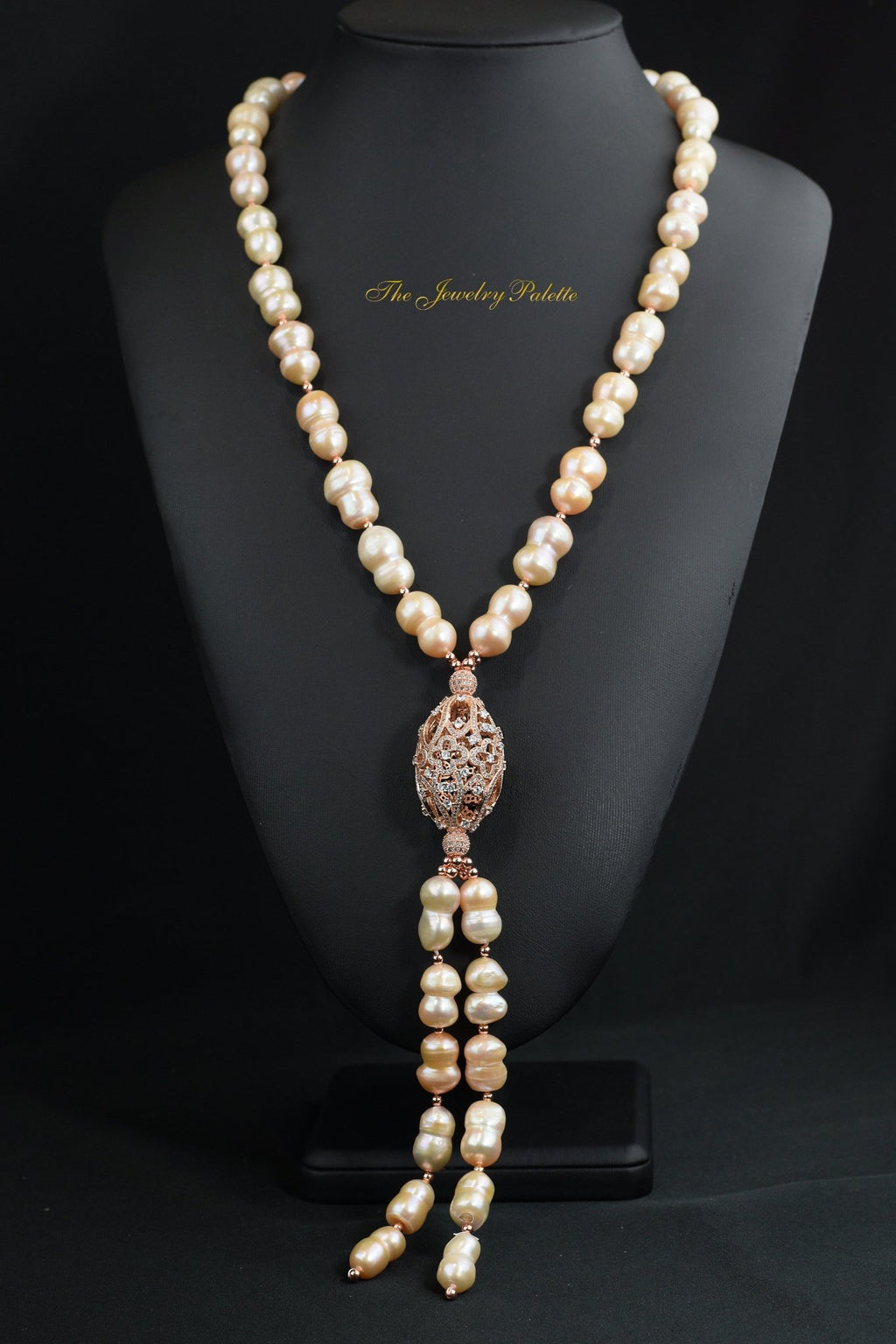 Emira pearl necklace with rose gold or silver pendants - The Jewelry Palette
