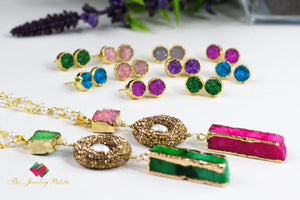 Emma pearl chain necklaces with multicolor druzy pendants - The Jewelry Palette