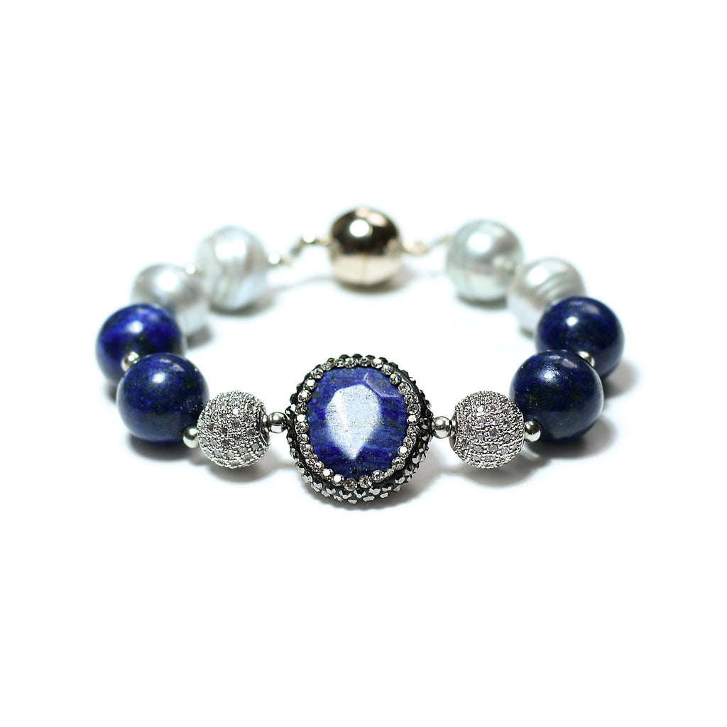 Fatima silver grey freshwater pearl and vivid blue lapis lazuli bracelet - The Jewelry Palette