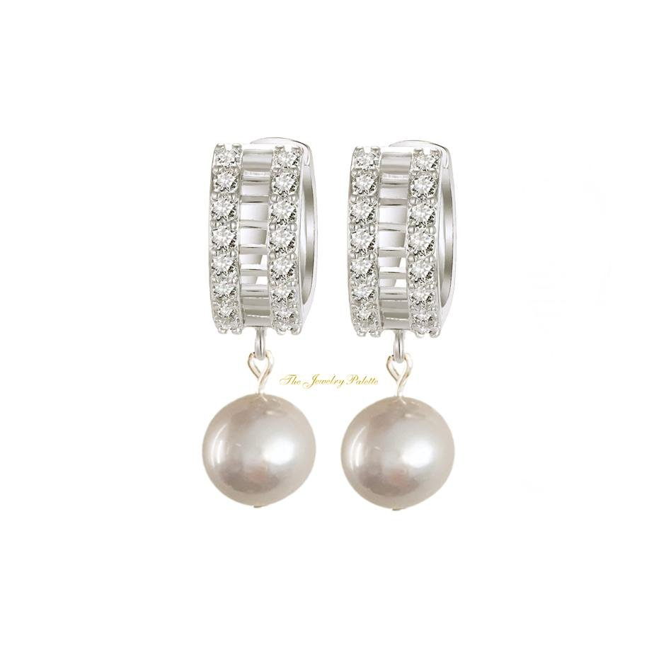 Fatima silver grey freshwater pearl with silver drop earrings - The Jewelry Palette