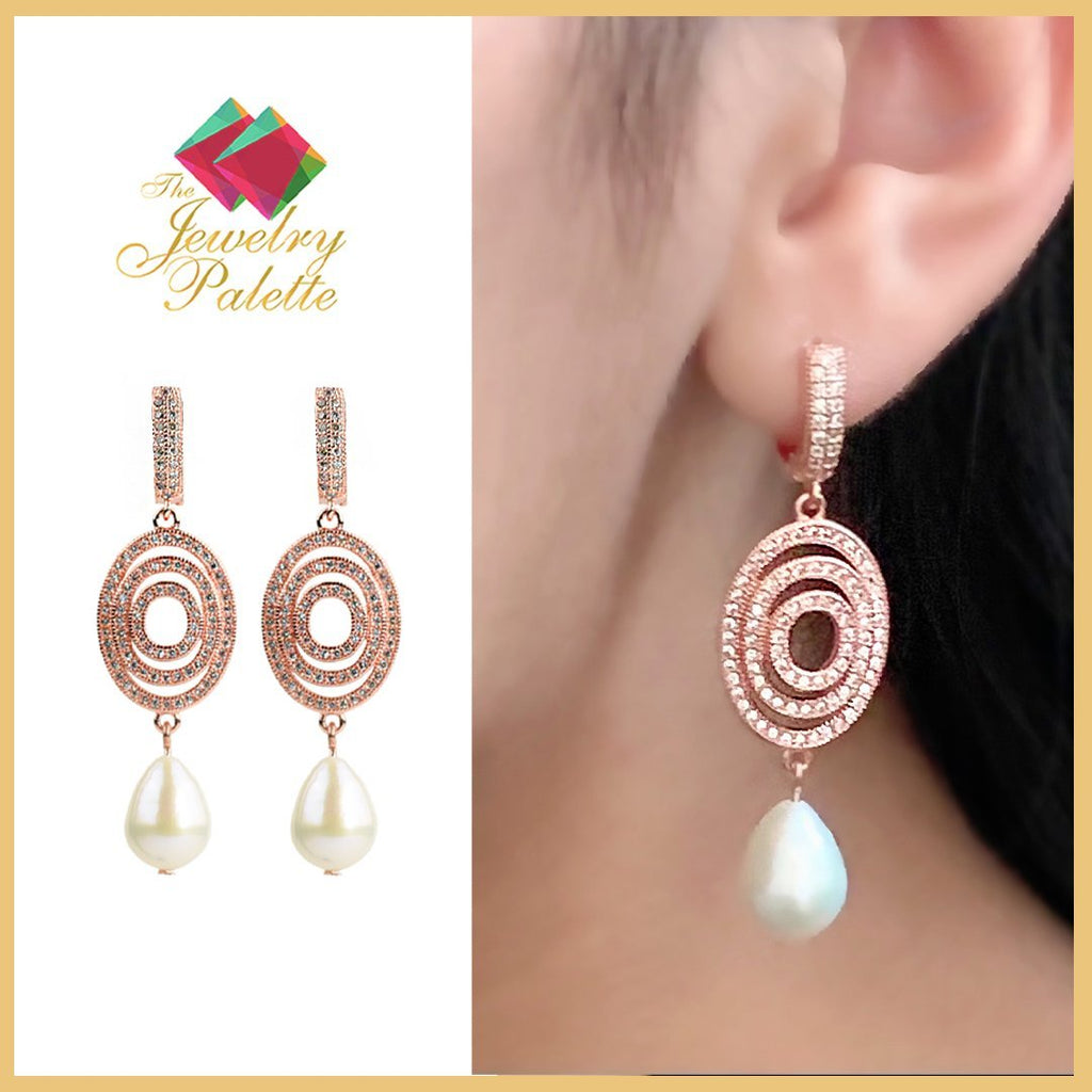 Hira shimmering rose gold pearl drop earrings - The Jewelry Palette