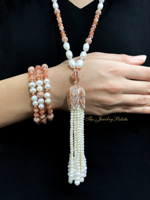 Hira white freshwater pearl and sunstone tassel necklace - The Jewelry Palette