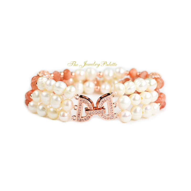 Hira white freshwater pearl and sunstone three-tier bracelet - The Jewelry Palette