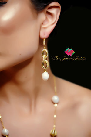 Hiranur dazzling gold chain and white baroque pearl drop earrings - The Jewelry Palette