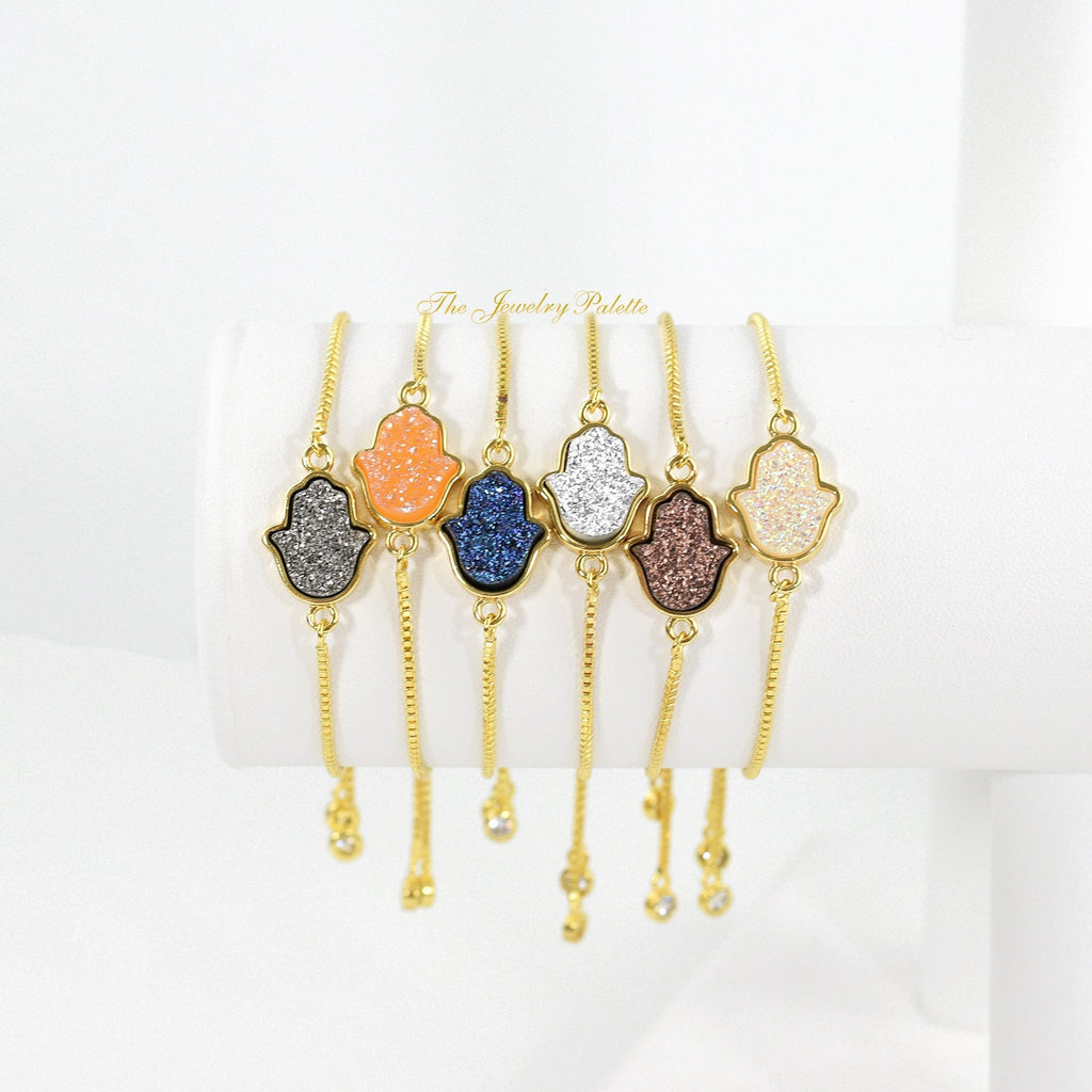 Iris gold edged hand-shaped druzy adjustable bracelet - The Jewelry Palette
