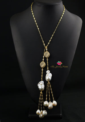 Isabelle gold zircon studded chain and pearl tassel necklace - The Jewelry Palette