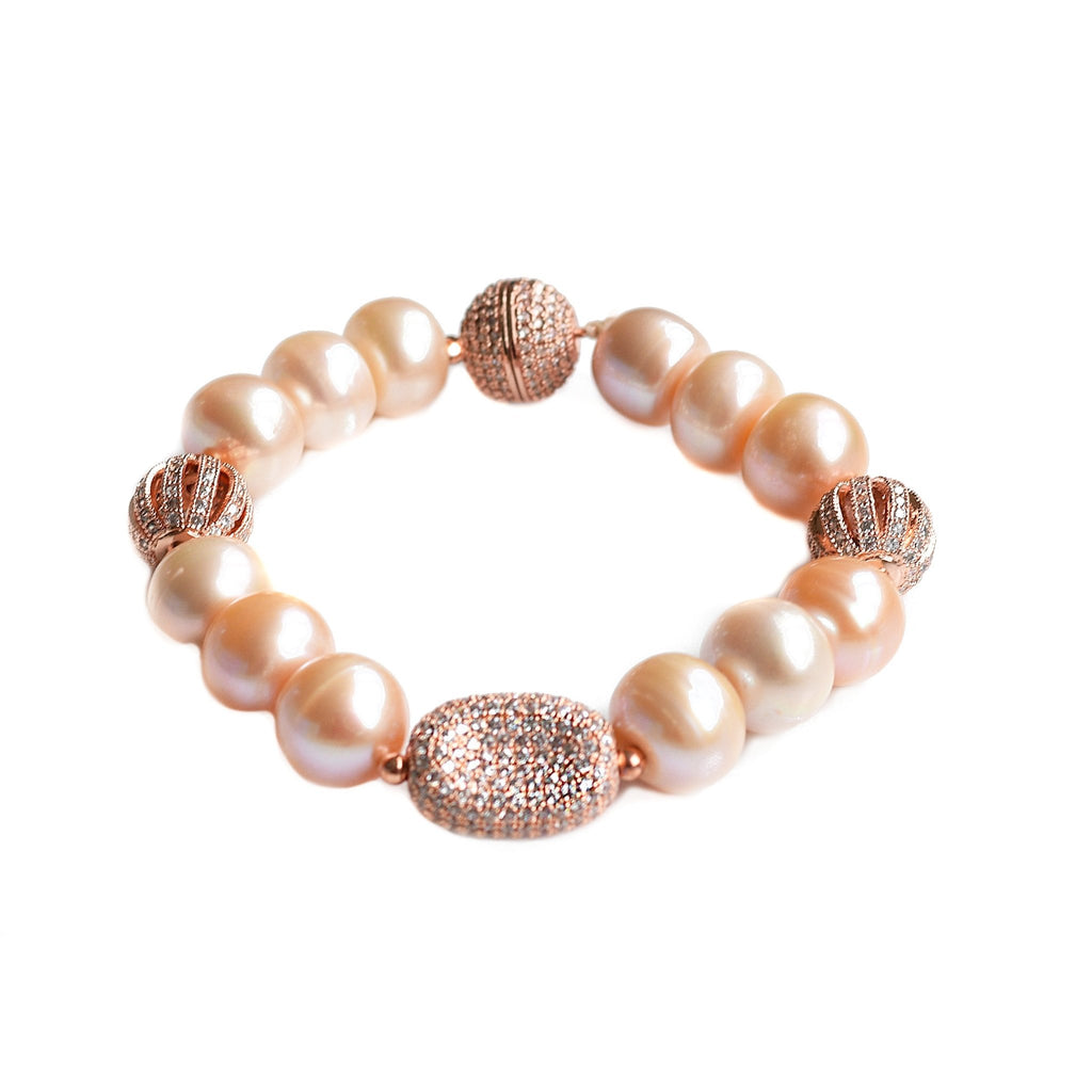 Joanna lustrous pink pearl and rose gold bracelet - The Jewelry Palette