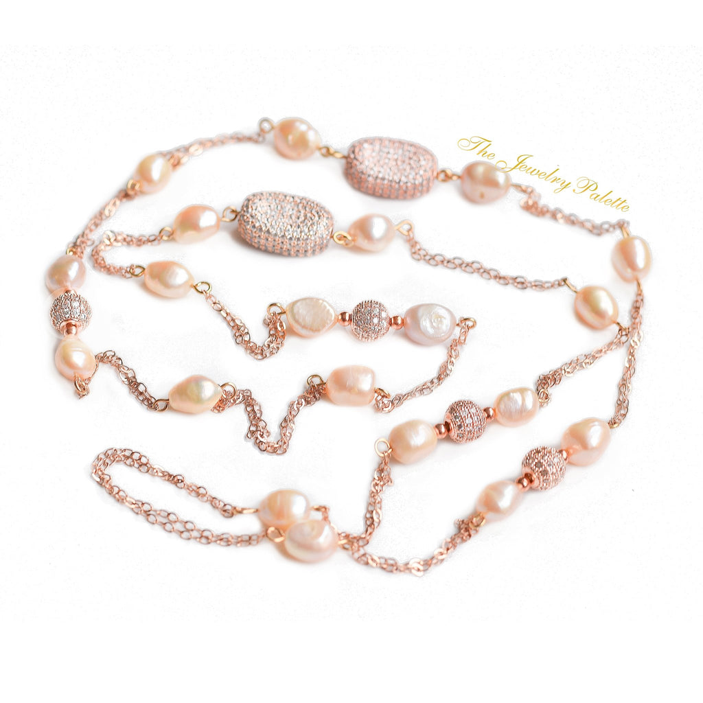 Joanna lustrous pink pearl and rose gold chain necklace - The Jewelry Palette
