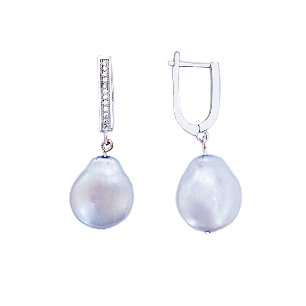 Lorette blue baroque coin pearl with silver drop earrings - The Jewelry Palette