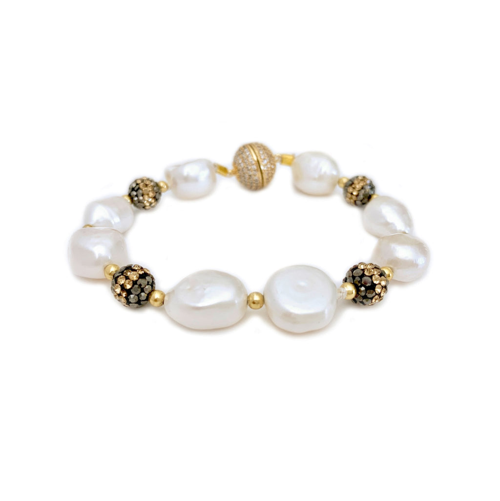 Lunara white freshwater pearl and glittering black stone bracelet - The Jewelry Palette