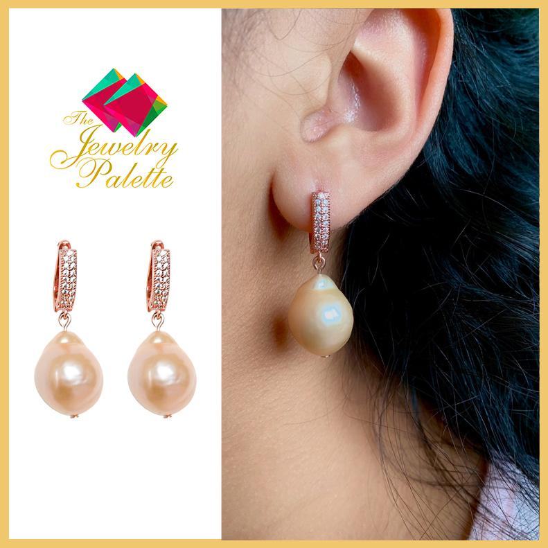 Madeleine lustrous pink Edison pearl and rose gold earrings - The Jewelry Palette