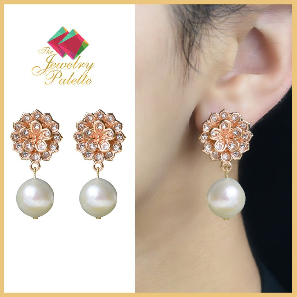 Manahil rose gold zircon studded pearl drop earrings - The Jewelry Palette