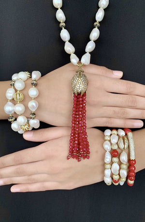 Marjaan coral and zircon bracelet - The Jewelry Palette