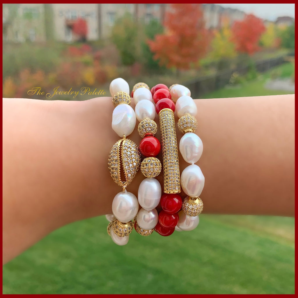 Marjaan pearl and central cowrie bracelet - The Jewelry Palette