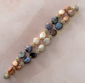 Martina multicolor baroque coin pearl and gold two-tier bracelet - The Jewelry Palette
