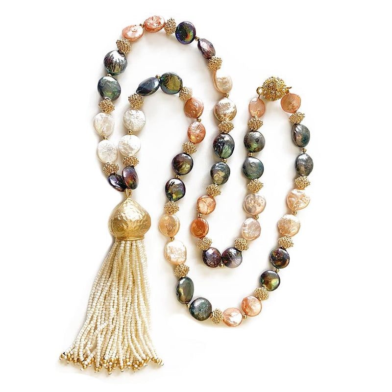 Martina multicolor baroque coin pearl with tassel necklace - The Jewelry Palette