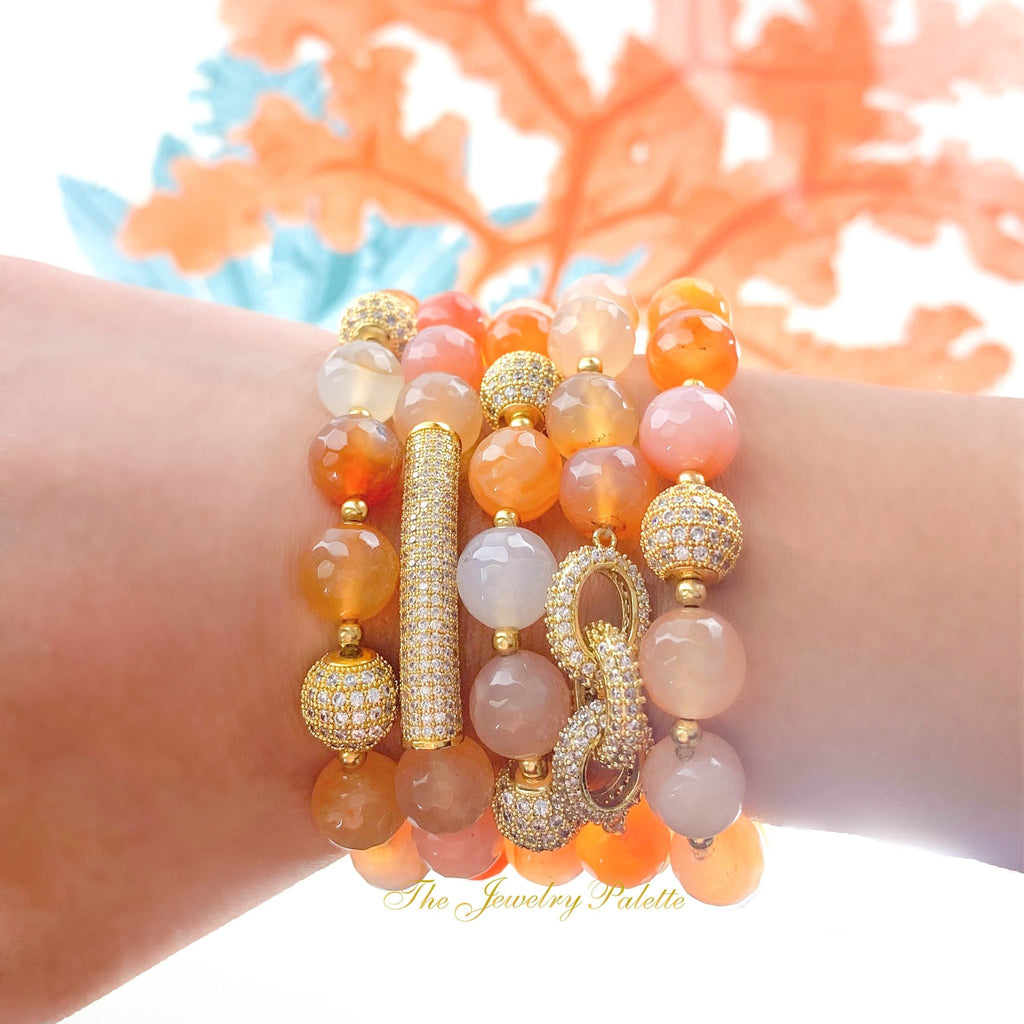 Maya agate and zircon studded gold beads stretch bracelets - The Jewelry Palette