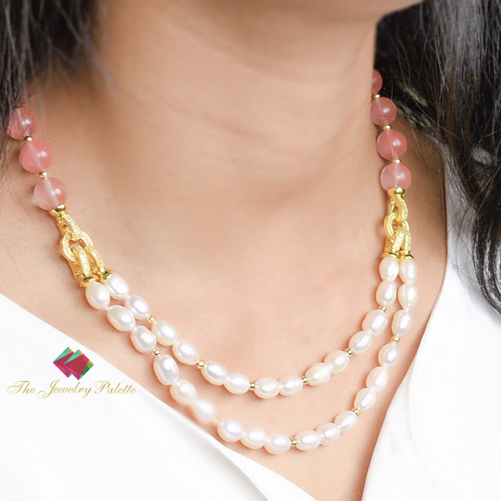 Nargis white freshwater pearl and pink quartz necklace - The Jewelry Palette