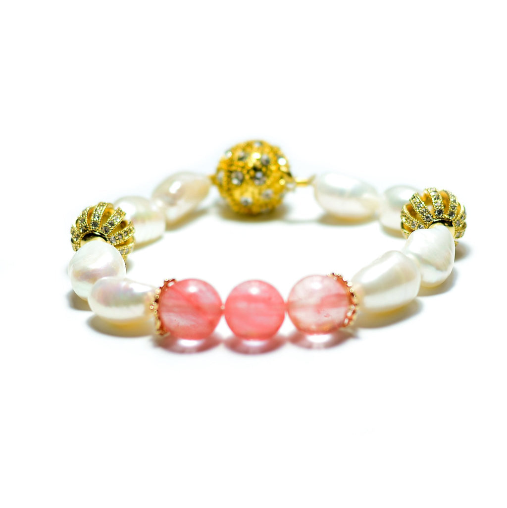 Nargis white freshwater pearl and pink quartz trio bracelet - The Jewelry Palette