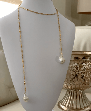 Natalie silver and gold chain necklace with white baroque pearls - The Jewelry Palette
