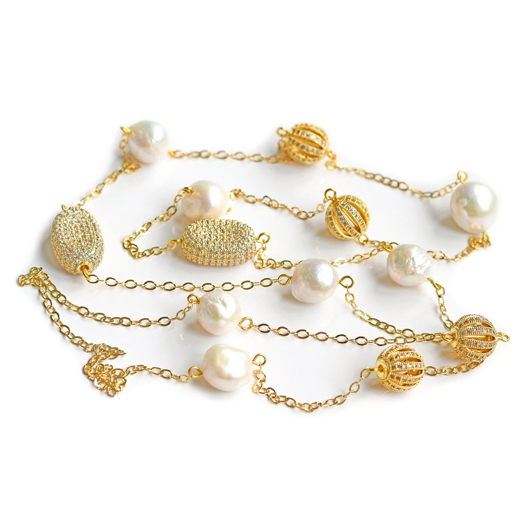 Noelle creamy white freshwater pearl and gold necklace - The Jewelry Palette
