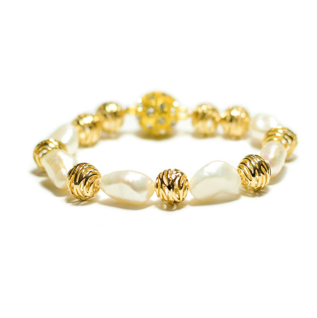 Simra lustrous white freshwater pearl and gold swirl bracelet - The Jewelry Palette