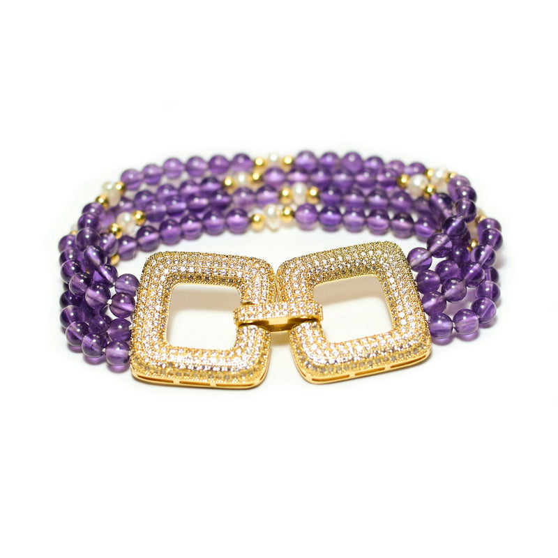 Simra luxe amethyst and white pearl multitiered bracelet - The Jewelry Palette