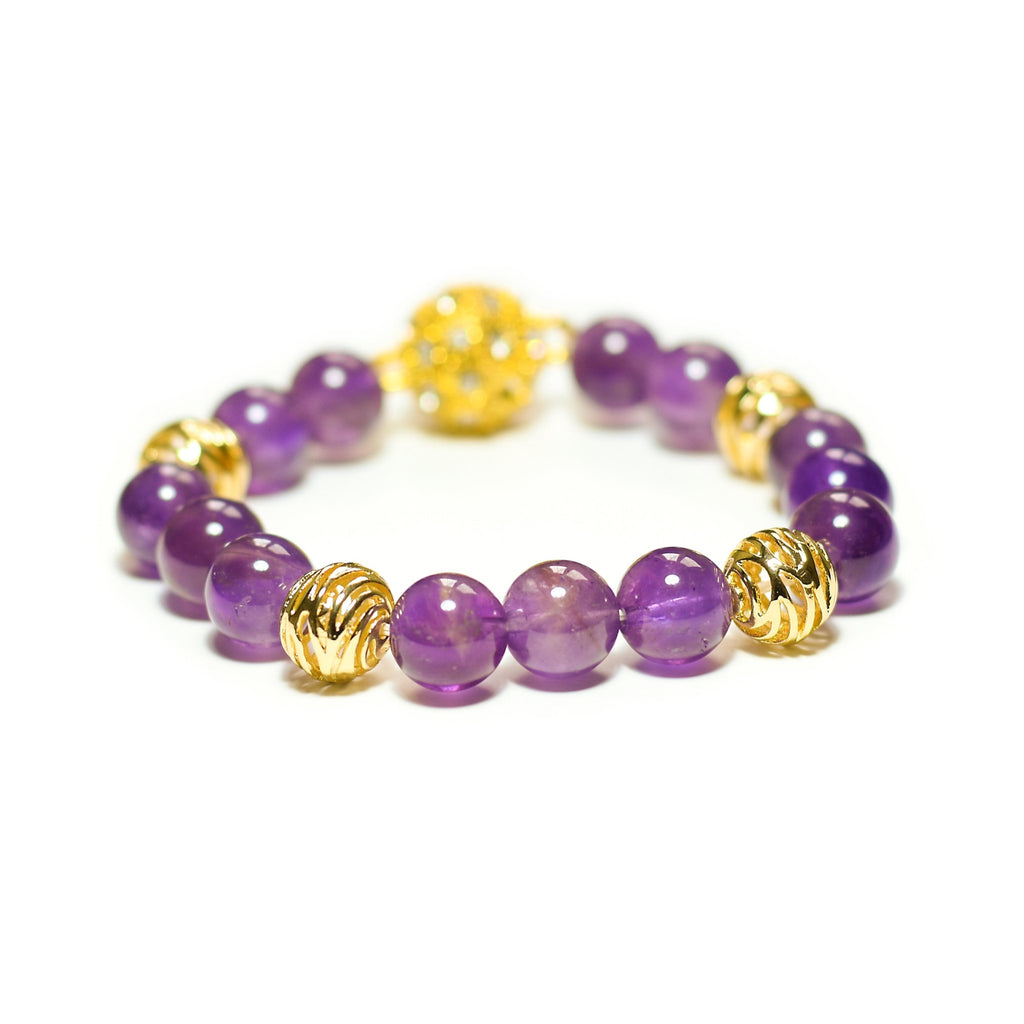 Simra vivid purple amethyst with shiny gold swirl beads bracelet - The Jewelry Palette