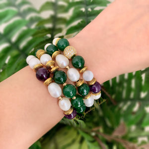 Sophia emerald, amethyst and freshwater pearl stretch bracelets - The Jewelry Palette