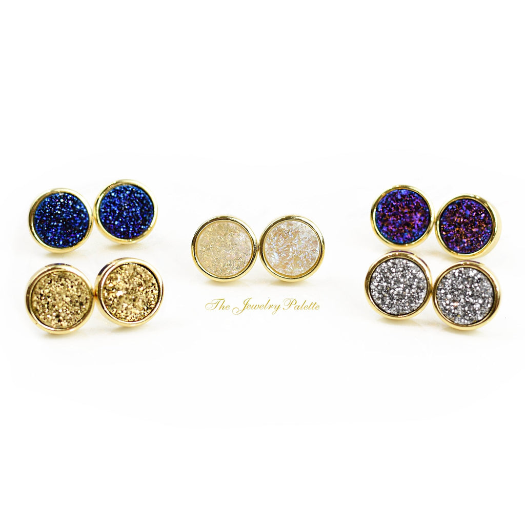 Stella multicolor druzy stud earrings - The Jewelry Palette