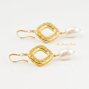 Sydney gold filigree and pearl drop earrings - The Jewelry Palette
