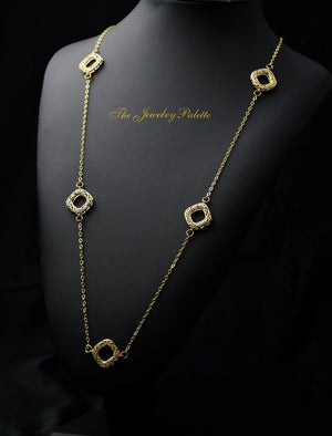 Sydney intricate gold filigree and chain necklace - The Jewelry Palette