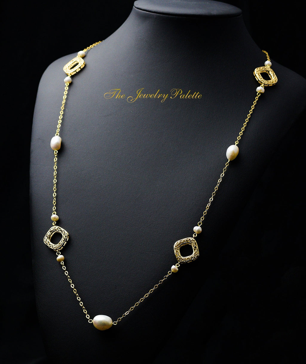 Sydney white freshwater pearl and gold filigree necklace - The Jewelry Palette