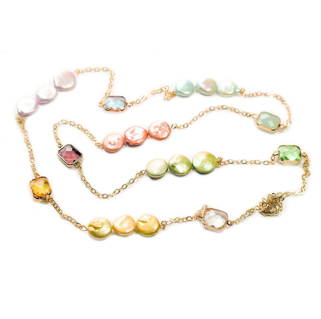 Tasha multicolor baroque coin pearl with gold chain necklace - The Jewelry Palette