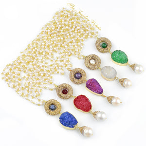 Thea pearl chain necklaces with multicolor druzy pendants - The Jewelry Palette