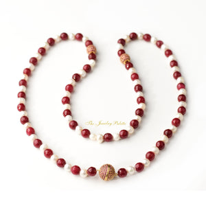White pearl and agate beads tasbeeh (rosary) - The Jewelry Palette