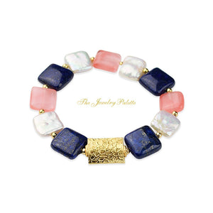 Zara white freshwater pearl, lapis lazuli and pink quartz bracelet - The Jewelry Palette