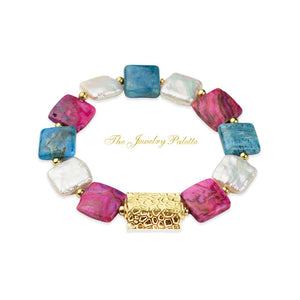 Zara white freshwater pearl, teal apatite and pink agate bracelet - The Jewelry Palette