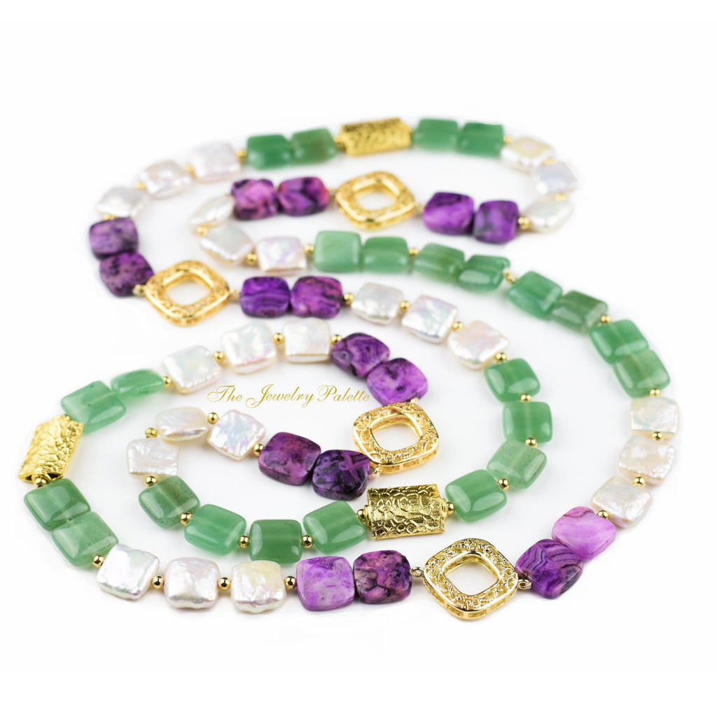 Zara white pearl, green aventurine and purple agate necklace - The Jewelry Palette